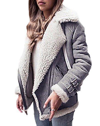 Minetom Damen Mäntel Mode Warm Casual Streetwear Winterjacke Wildleder Wolle Motorradjacke Fleece Outwear Jacke Parka Mit Taschen