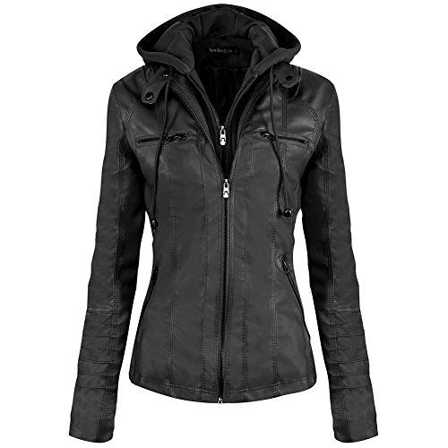 Newbestyle Damen Kapuzen PU-Leder Jacke (Normale EU-Größe)