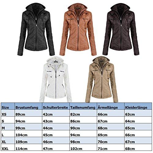 Newbestyle Damen Kapuzen PU-Leder Jacke (Normale EU-Größe) - 3