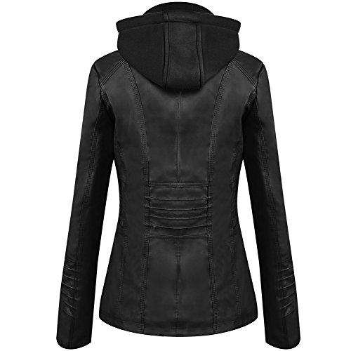 Newbestyle Damen Kapuzen PU-Leder Jacke (Normale EU-Größe) - 4