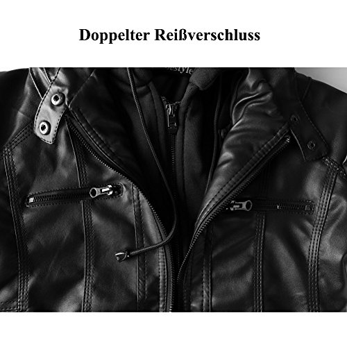 Newbestyle Damen Kapuzen PU-Leder Jacke (Normale EU-Größe) - 5