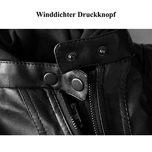Newbestyle Damen Kapuzen PU-Leder Jacke (Normale EU-Größe) - 6