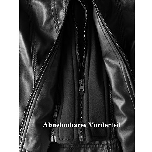 Newbestyle Damen Kapuzen PU-Leder Jacke (Normale EU-Größe) - 7