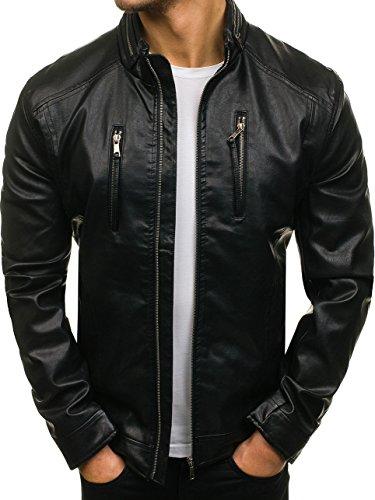 BOLF Herren Kunstlederjacke mit Reißverschluss Stehkragen Täglicher Stil NATURE 5006 Schwarz L [4D4]