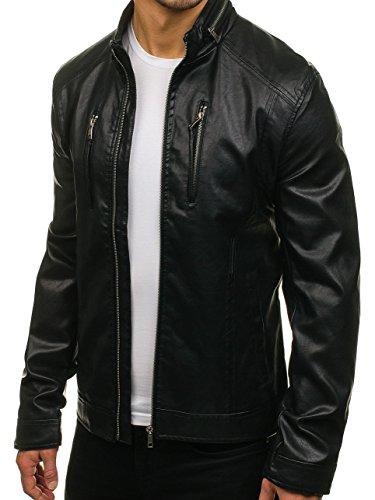 BOLF Herren Kunstlederjacke mit Reißverschluss Stehkragen Täglicher Stil NATURE 5006 Schwarz L [4D4] - 2