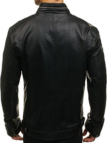 BOLF Herren Kunstlederjacke mit Reißverschluss Stehkragen Täglicher Stil NATURE 5006 Schwarz L [4D4] - 3