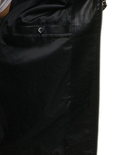 BOLF Herren Kunstlederjacke mit Reißverschluss Stehkragen Täglicher Stil NATURE 5006 Schwarz L [4D4] - 5