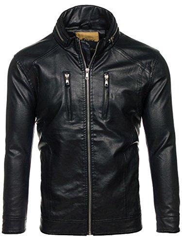 BOLF Herren Kunstlederjacke mit Reißverschluss Stehkragen Täglicher Stil NATURE 5006 Schwarz L [4D4] - 6