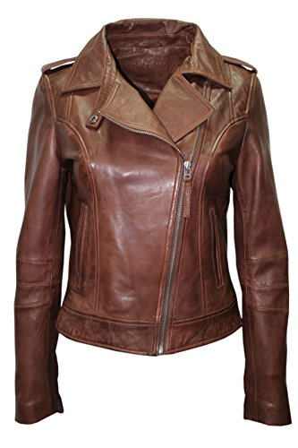 Infinity- neue Dame- Frauen Retro BRANDO 442 braun Fashion Motorradfahrer Casual Style Lederjacke aus weichem Leder Slim Fit