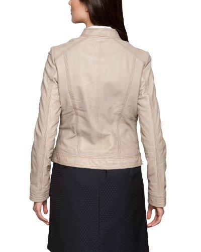 Comma Damen Jacke Regular Fit Lederjacke, Beige (seashell) - 2