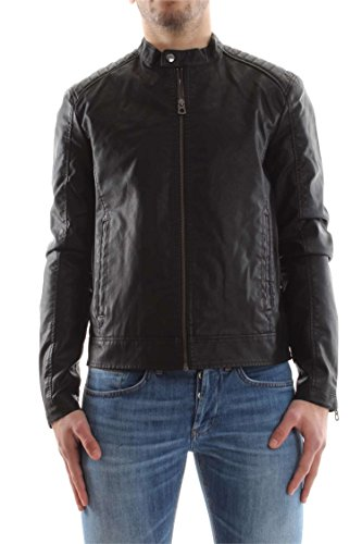 93ea5ed9cc82 JACK   JONES Herren Jacke Jorblack ON Black Biker, Schwarz (Black), Large