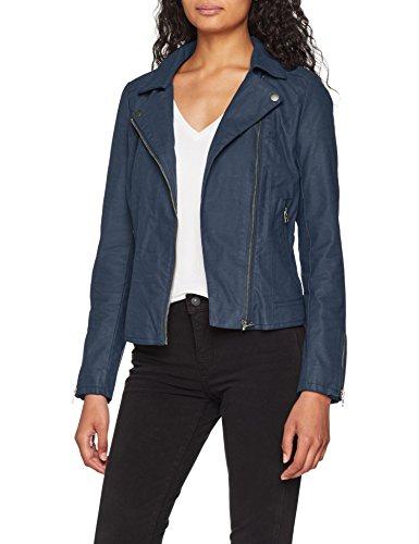 ONLY Damen Jacke Faux Leather Biker , Blau , 36
