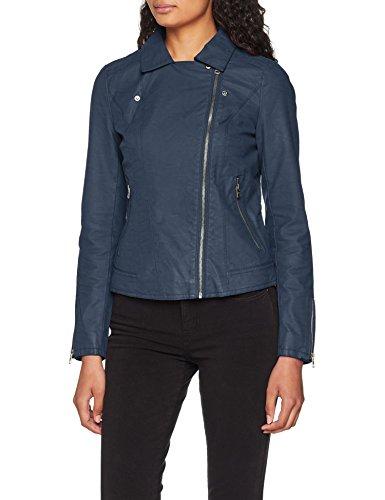 ONLY Damen Jacke Faux Leather Biker , Blau , 36 - 4