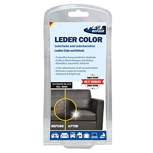 1-2-3 REPAIR Lederfarbe Schwamm und Pinsel Farbauffrischer Lederfärbemittel Schwarz