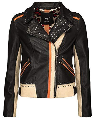 Maze Damen Lederjacke mit Nieten und Farbkombination