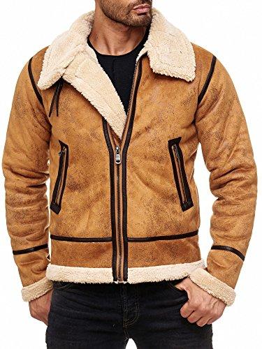 Red Bridge Herren Winterjacke Kunstleder gefütterter Vintage Jacke