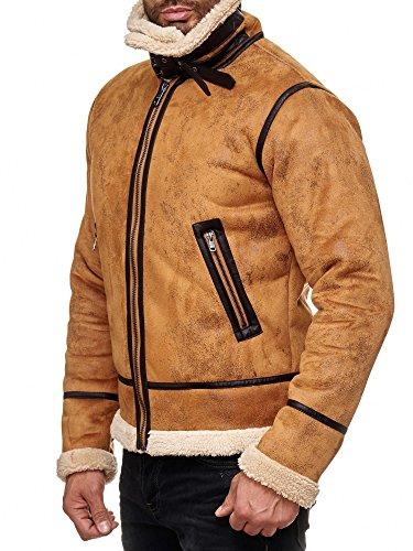 Red Bridge Herren Winterjacke Kunstleder gefütterter Vintage Jacke - 3