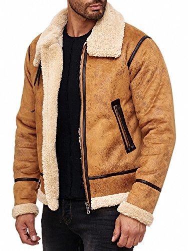Red Bridge Herren Winterjacke Kunstleder gefütterter Vintage Jacke - 8