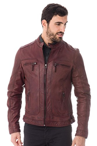 Oakwood Herren Lederjacke // Rot (Rouge/Bordeaux),