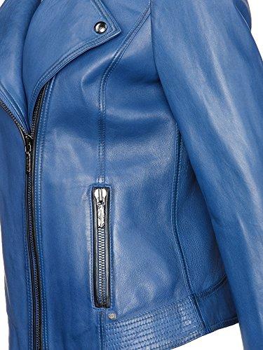 BOSS Damen LederJacke Jamela // Blau (Medium Blue 428), 40 - 3