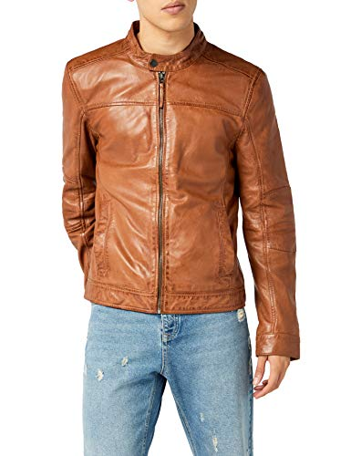 Kings on Earth Herren Echtlederjacke Rash Slim Fit // Braun