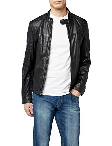 Kings on Earth Herren Echtlederjacke Slim Fit // Schwarz