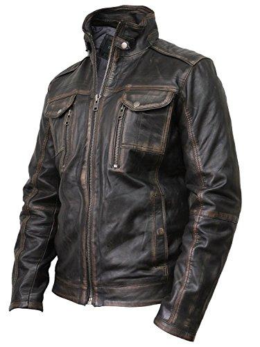 Vintage schwarze Herren Bikerjacke aus Leder - 2