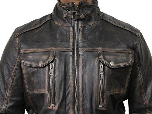 Vintage schwarze Herren Bikerjacke aus Leder - 3