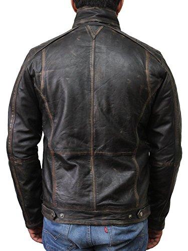 Vintage schwarze Herren Bikerjacke aus Leder - 4