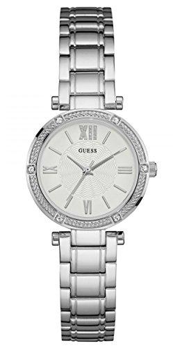 Guess Damen Analog Quarz Uhr mit Edelstahl Armband W0767L1