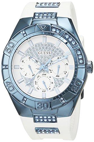 Guess Damen Analog Quarz Uhr mit Silikon Armband W0653L2