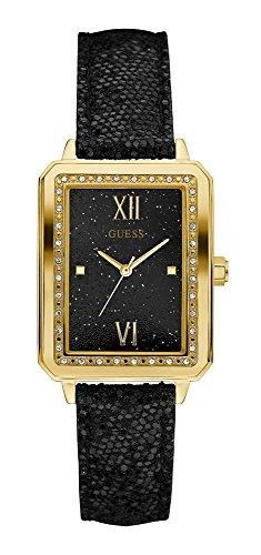 Guess Unisex Erwachsene Datum klassisch Quarz Uhr mit Leder Armband W0841L1