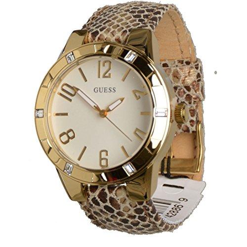 Guess Damen Analog Quarz Uhr mit Leder Armband W0214L1