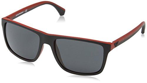 Emporio Armani Unisex Sonnenbrille EA4033, Mehrfarbig (Black/red Rubber 532487), Large (Herstellergröße: 56)