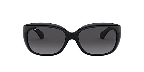 Ray-Ban RAYBAN Damen Sonnenbrille 4101, Shiny Black/Greygradientdarkgreypolar, 58