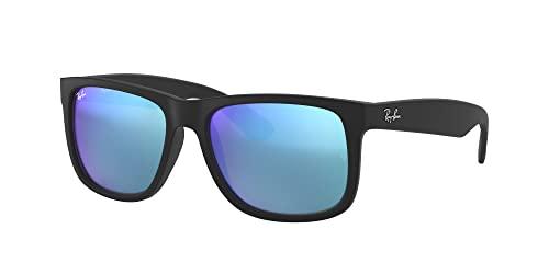 Ray-Ban 0RB4165 Justin Classic Sonnenbrille Large (Herstellergröße: 55), Schwarz (Gestell: Schwarz, Gläser: Blau Verspiegelt 622/55) - 2