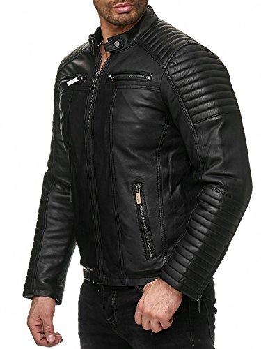 Redbridge Herren Jacke Kunst- Lederjacke Bikerjacke Biker Übergangsjacke M6013 AIR, Schwarz, XL - 7