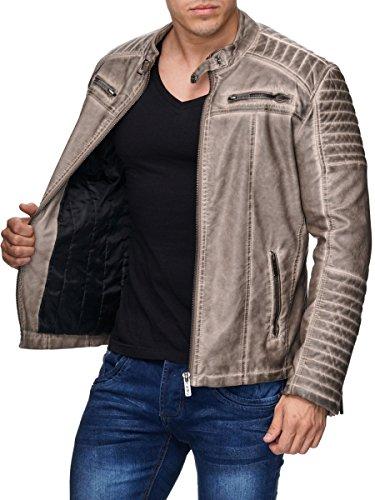 Redbridge Herren Jacke Übergangsjacke Biker Kunstleder Echtleder Baumwolle mit gesteppten Bereichen - 2