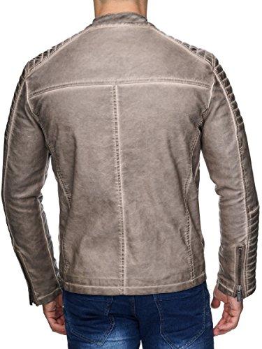 Redbridge Herren Jacke Übergangsjacke Biker Kunstleder Echtleder Baumwolle mit gesteppten Bereichen - 3