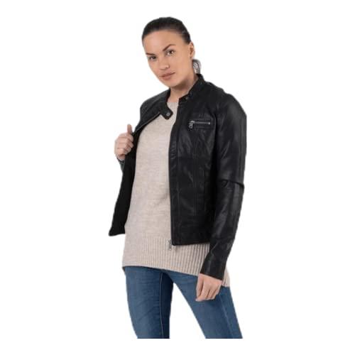 ONLY Damen Bandit PU Biker Jacke, Schwarz - 4