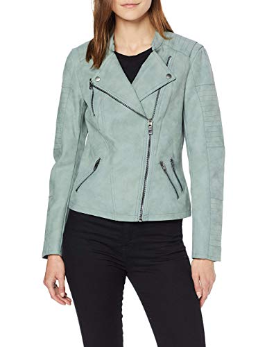 ONLY Damen Jacke Leder-Look grün