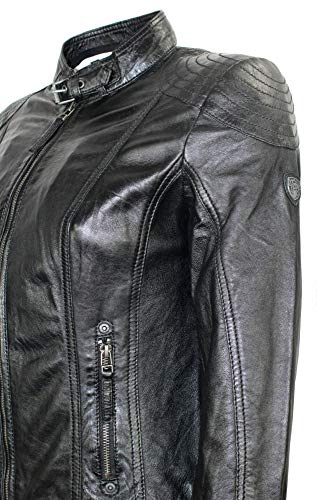 Gipsy – Damen Lederjacke Kapuze Lammnappa schwarz Größe L - 6