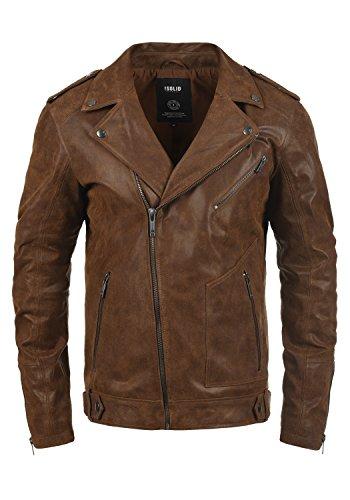 SOLID Mash Herren Lederjacke Echtleder Bikerjacke mit zahlreichen Metall-Details aus 100% Leder