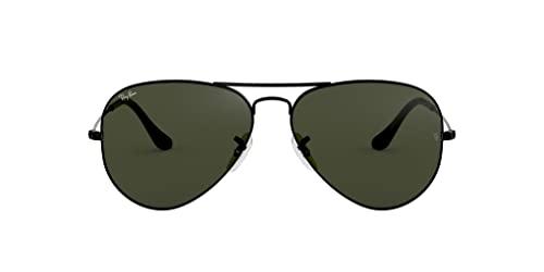Ray Ban Unisex Sonnenbrille Aviator (Gestell: schwarz, Gläser: grau grün)