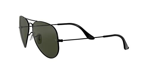 Ray Ban Unisex Sonnenbrille Aviator (Gestell: schwarz, Gläser: grau grün) - 3