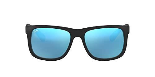 Ray Ban Unisex Sonnenbrille Justin, Gr. Small, Gestell: schwarz, Gläserfarbe: blau